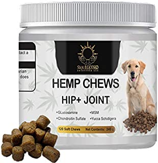 Hemp Chews Glucosamine Dog Treats- Hip + Joint supplements for dogs- Infused with Organic Hempseed oil, Chondroitin, MSM, ...