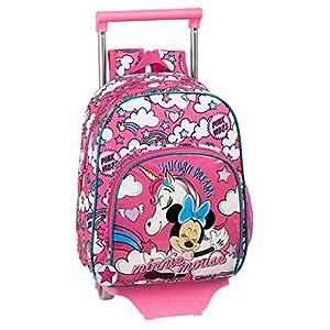 51l7VnwgJ4L. SS300  - Mochila Infantil Minnie Mouse con Carro, Trolley de safta (612012020), Color Rosa, Único