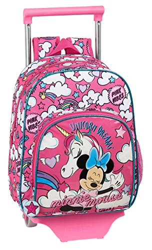 Mochila Infantil Minnie Mouse con Carro, Trolley de safta (612012020), Color Rosa, Único