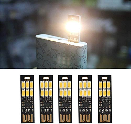 Yizhet 5 stuks USB LED Lamp USB Licht Schlüsselanhänger Super Bright 6 LED Touch Dimmer Draagbaar voor laptop toetsenbord, wit licht USB verlichting (Koud Wit)