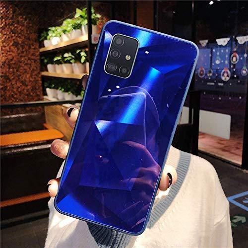 Uposao Kompatibel mit Samsung Galaxy A51 Hülle Spiegel Handyhülle Glänzend Glitzer Strass TPU Silikon Hülle Schutzhülle Überzug Mirror Case Stoßfest Cover Dünne klare weiche TPU Hülle,Blau