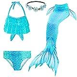Fishtail Coda da da sirena per nuoto, ragazze, 4 pezzi, costume da principessa, costume da bagno galleggiante per bambine (nessuna monopinna) blu 47/50 cm