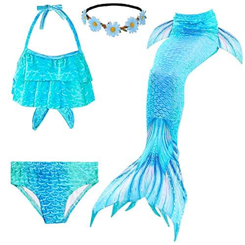 Fishkidtail Meerjungfrau Schwänze für Mädchen für Schwimmen 4Pcs Bikini Badeanzug Kostüm Kinder(Height 47-50in(Gr 130,Blue)