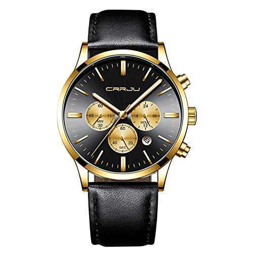 CRRJU Mode Herren Calander Uhren Analoge Quarz-Armbanduhren Wasserdichter Chronograph Sport Date Leather/Steel Band,Gold