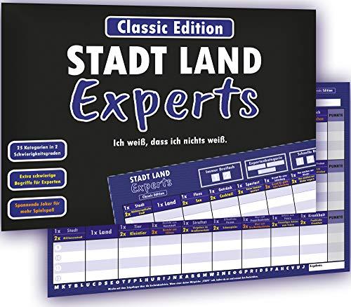 Kulinu Stadt Land Experts - das Innovative Stadt Land Fluss Spiel für echte Experten - Partyspiel Gesellschaftsspiel Quiz Wissensspiel Geschenkidee (Classic Edition, Din A4)