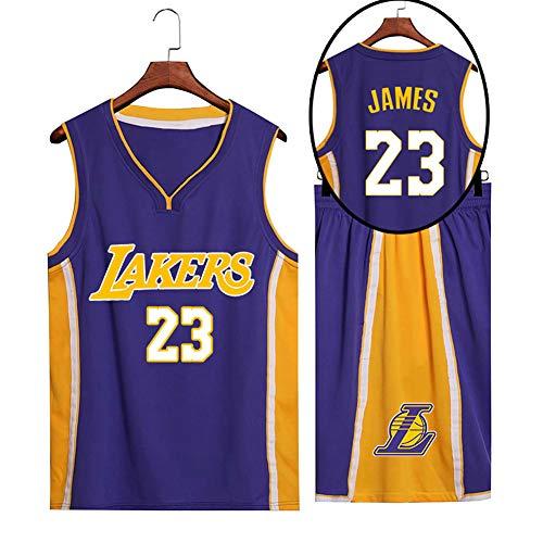 SYXBB-Lampe Basketball Trikot für Lebron Raymone James No.23 Lakers Fans Basketball ärmellose Anzug Erwachsene lila Sportswear T-Shirt Weste + Shorts jugendlich weiß gelb Sweatshirt,Lila,5XL