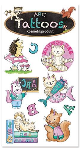 6 Tattoos * Schulanfang MÄDCHEN * vom Lutz Mauder | 44715 | Einschulung ABC Schulstart Tattoo Kindertattoo Kinder Geburtstag Mitgebsel