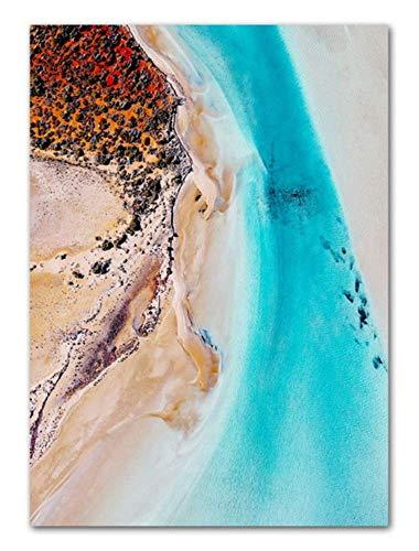 Wuzhaodi Poster strandeiland, boom, plant, abstracte landschap, muur, kunst, canvas, schilderijen, Nordic poster en druk wandafbeelding, woonkamer, decoratie 60X80CM C