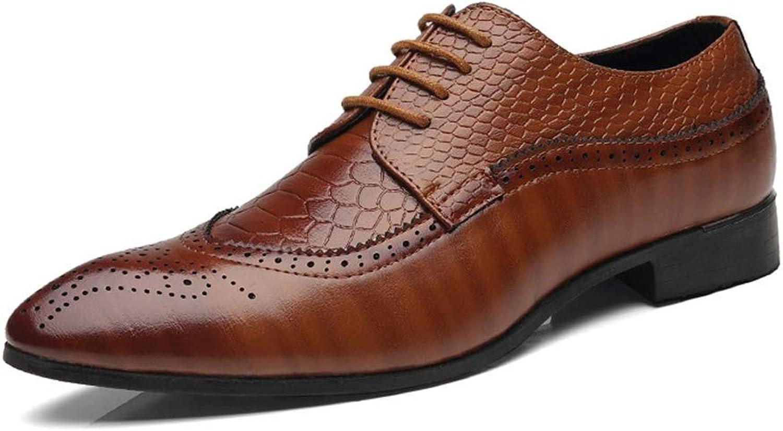 Jincosua Mens Polished Polished Polished Lackleder Schuhe schnüren Sich Brogues Crocodile Pattern Derbys (Farbe   Braun, Größe   EU 44)  fb1234