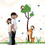 Pegatinas de pared para el dormitorio, altura de la jirafa del mono Medida de la altura del niño Habitaciones para niños Dibujos animados PVC Mural Colgante Mural Oficina Imágenes Pintura Calcomanías
