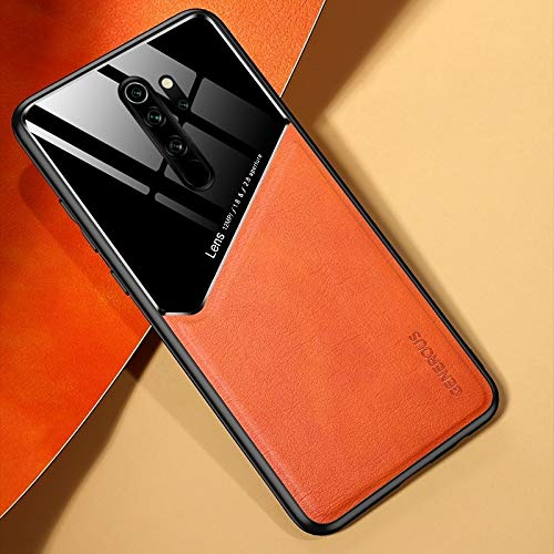 para Xiaomi Redmi Note 8 Pro All-Inclusive Cuero + Funda de teléfono de Vidrio orgánico con Chapa de Hierro metálico (Color : Orange)