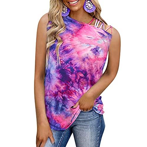 Camiseta de verano sin mangas para mujer, diseño de flores, cuello redondo, para adolescentes y niñas
