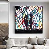 Lienzo De Pintura De Arte Abstracto Street Graffiti Love Hearts Posters E Impresiones Lovely Boy And Girl Wall Pictures Para DecoracióN Del Hogar 60x60cm Sin Marco