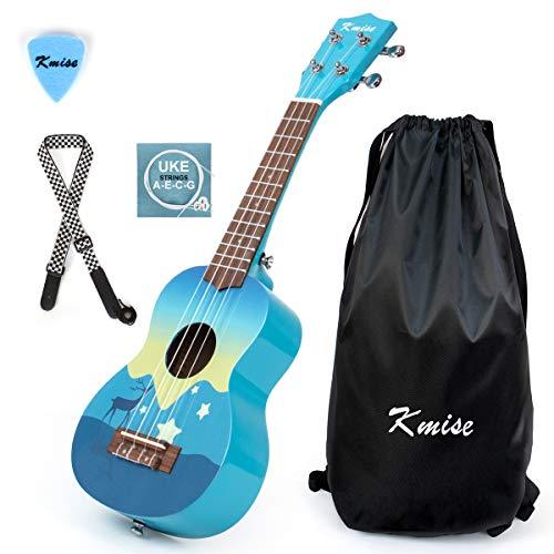 Kmise Ukulele soprano da 21 pollici per bambini adulti principianti giocattoli regalo ukelele con sacchetto concerto, corda, Blu