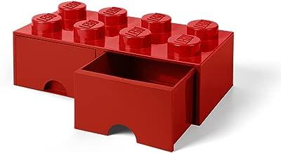 LEGO-40061730 Caja de Almacenaje Apilable, Ladrillo 8 pomos, 2 Cajones, 9.4 l, Color Rojo (Red), 50 x 25 x 18 cm (40061730