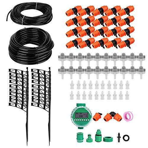 Pokerty9 Kits de jardín Sistema de riego, Kit de riego por Goteo con Temporizador de Manguera de jardín, Kit de Sistema de riego de jardín, Piezas de riego por Goteo para Invernadero para jardín,