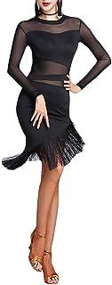 Jonact Damen Quaste lateinisches Tanzkleid Frauen Ballsaal Kleid Schwarz Mesh Lange Ärmel für Latein Tango Salsa Tanzkostüm