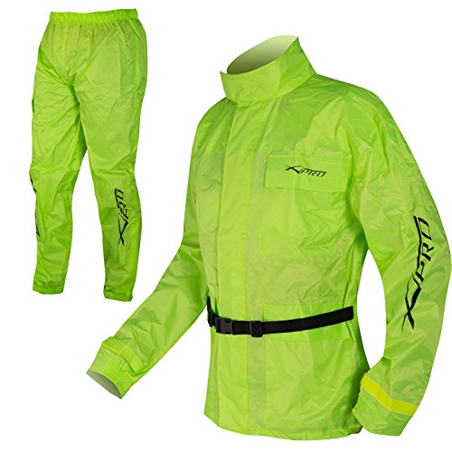 A-pro Conjunto de chaqueta y pantalones impermeables impermeable, alta visibilidad, fluorescente, talla XL