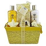 Gloss - caja de baño, caja de regalo para mujeres - La basura de baño de lujo del cuerpo - Vainilla cal - 6 piezas