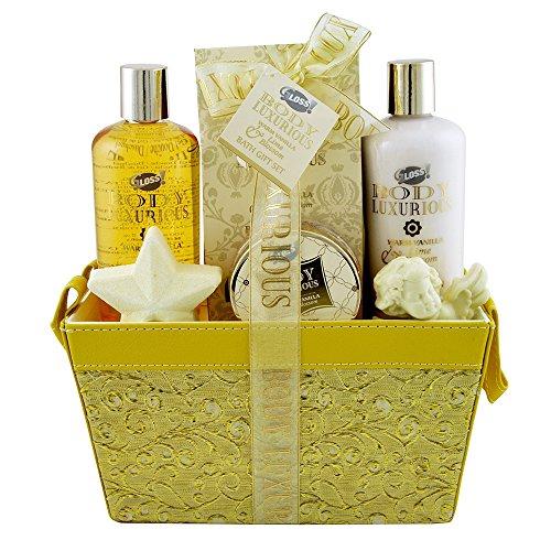 Coffret cadeau pour femme - Corbeille de Bain dorée - Collection Body Luxurious - Vanille/Tilleul