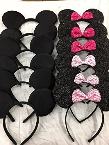 Set of 12 Glitter Sequin Pink Minnie Mouse and Mickey Ears_for Dress up Minnie Mouse Theme Birthday, Mickey Mouse Party
