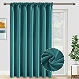 ALLJOY Blackout Wide Sliding Door Curtains, Thermal Insulated Blackout Patio Curtains, Extra Wide Window Drapes Rod Pocket Room Divider Panel for Sliding Glass Door, 1 PC 100 x 84 Inch, Teal