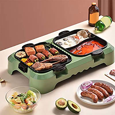Removable Electric Smokeless Grill and Hot Pot, 2200W Fast Heat Hot Pot with Korean BBQ Grill Non-Stick Pan, Separate Dual Temperature Control Indoor and Ourdoor Barbecue for Gatherings