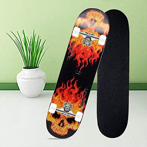 Skateboard für Erwachsene 80,6 x 20 cm, Ahornholz, für Jugendliche, Doppeltricks, Profi-Ausführung, komplettes Skateboard für Anfänger, Mädchen und Jungen,Gelb