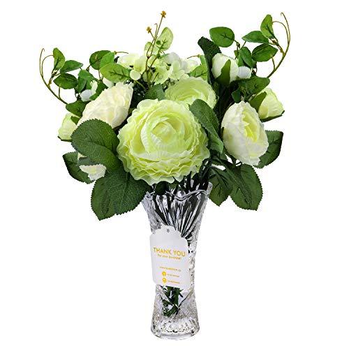 Love Bloom Ranunculos Artificiales Blancos - Flor Decoracion con Florero - Asiaticus Flor Artificial Seda para Ramilletes de Bodas, Centros de Mesa, Fiesta Jardín del Hogar, Decoración de Boda