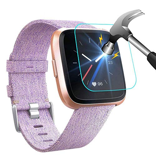 NANW [4-Pack] Screen Protector Compatible with Fitbit Versa/Versa Lite Edition Smartwatch (Not for Versa 2), Tempered Glass Waterproof Screen Glass Cover Protector