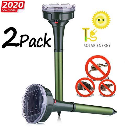 Dekugaa Solar Snake Repellent for Outdoor, Gopher Repellent Ultrasonic, Get Rid of Snake Mole Gophers for Outdoor Garden Yard 2 Pack