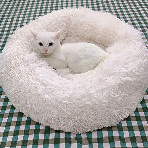 QIANGQIANG - Cama para perros cálida y suave con forma de donut cuddler Cat Cave lavable para cachorro pequeño y mediano, 60 cm, color blanco