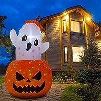 Parasaka 5 Feet Halloween Inflatable Pumpkin Ghost with Light