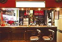 HiYash 7x5ft シティテーマバー写真背景屋内バーフロントデスク背景バーバーナイトクラブ装飾家族の子供たち大人のポートレート撮影小道具ビニール素材