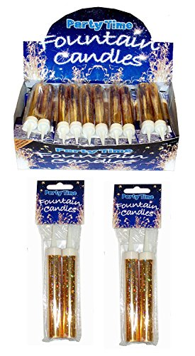 Henbrandt 24 x GOLD Ice Sparkling Fountain Candles (Packs of 2) 48 Total