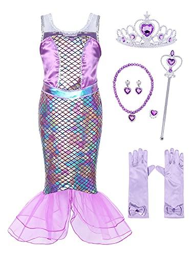 Jurebecia Disfraz Sirenita Niña Princesa Vestir Mermaid Costume Niñas Cumpleaños Halloween Niños Vestidos con Accesorios Morado 10-11 Años