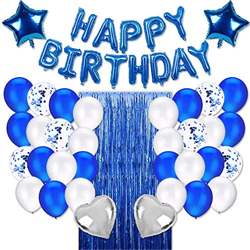 JOYYPOP Blue Birthday Party Decorations Set with Happy Birthday Balloons Banner, Confetti Balloons, Foil Fringe Curtain for Birthday Party Supplies