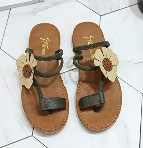 YYFF Zapatos de Playa y Piscina,Pantofole a Punta,Sandali a Fondo Piatto,Scarpe da spiaggia Casual-Verde inchiostro 2_38,Sandalias de Punta Descubierta
