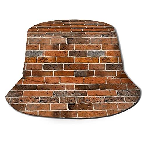 jhgfd7523 Ladrillo de pared Unisex Bucket Hat Fisherman Hat Sun Hat plegable 3D impresión al aire libre sombrero de playa