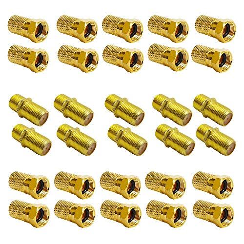 F-Stecker 7mm 20x + F-Verbinder 10x vergoldet | Gummidichtung | breite Mutter schraubbar | Verlängerung für Koaxial Antennenkabel Koax SAT Kabel | BK Anlagen | Satelliten LNB F Stecker + Verbinder SET