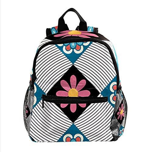 Rucksack Farbmuster Druck Kinderschulrucksack mit 2 Reißverschlussfächern für Jungen und Mädchen 25.4x10x30 cm