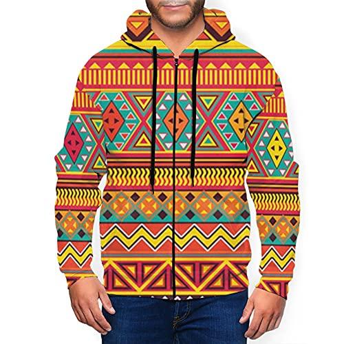 Sudadera con capucha para hombre con estampado azteca Art 2 con capucha 3d estampado chaqueta con cremallera jersey camisa