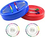 BcPowr 2Pack2-Size Magnetic Sewing Pincushion With 50 Plastic Head Pins, Magnetic Pincushion Round Pin Caddy Push Pins Holder Sewing Quilting Pins Holder For Sewing Needles Hair Bobby Pins (Blue, Red)