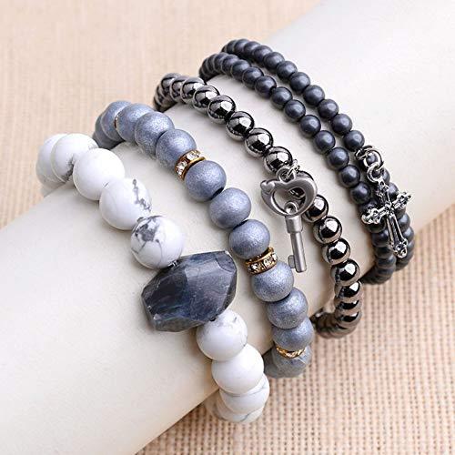 DMUEZW 4 Stks/Set Trendy Hart Sleutel Cross Charm Armbanden Voor Vrouwen Natuurlijke Steen Labradoriet Hematiet Armbanden