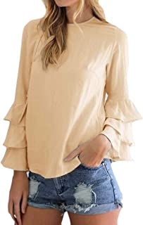 Loyomobak Womens Ruffle T-Shirt Chiffon Lightweight Plus Size Solid Color Shirt Blouse Top