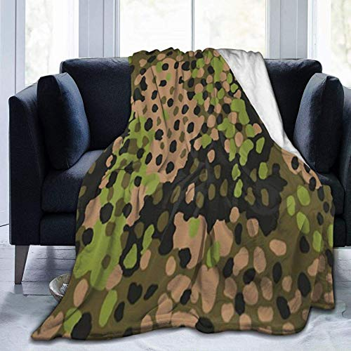 WW2 SS Erbsentarn camo Throw Blanket Suitable for Sofa Micro Flannel Fleece Blankets for Adults and Children Bed Blankets 60' x80