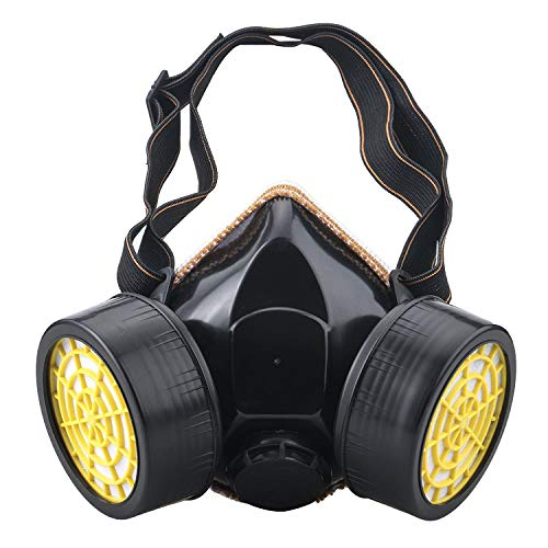 Safety Half Facepiece Respirator, Anti-Dust Spray Chemical Gas Dual Cartridge Paint Filter Spray Mask (Yellew)