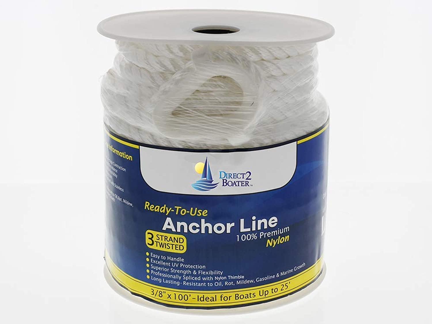 3 8  x 100' White 3 Strand Twisted Nylon Anchor Line By Direct 2 Boater