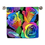 FeHuew Multicolored Rose Kitchen Dish Towel Soft Highly Absorbent Fingertip Hand Towel Home Decorative Multipurpose for Bathroom Hotel Gym and Spa 15.7 x 27.5 Inches