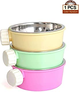 Small Pet Cage Accessories Food Water Bowl, 2-in-1 Plastic Bowl & Stainless Steel Bowl, Mountable Cat Rabbit Bird Hamster Chinchilla Ferret Food Basin Dish Perfect for Crates & Cages Color Random